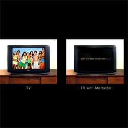the abstractor lets you turn your idiot box into a work of art.  fun idea...with lots of possibilities.   a new way to play with your tv thanks to ji lee.