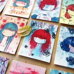 Stasia Burrington's new series of 100 little faces (or shrunken heads) in the making!