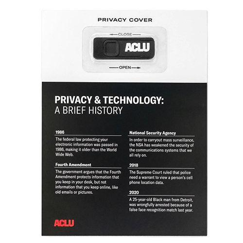ACLU Camera Privacy Cover comes complete with fact sheet! A perfect stocking stuffer - pair it with the Constitution Stress Ball?