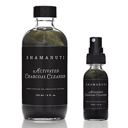 "Shamunti's Activated Charcoal Cleanser... ""This unique cleanser utilizes the properties of activated charcoal to neutralize acidity and absorb impurities as well as to gently exfoliate the skin with maple extract."""