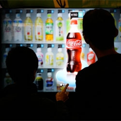 "Acure digital vending machines have a 47"" touchscreen and uses a camera to recognize the demographic of the user. The machines can then adjust their displayed contents accordingly."