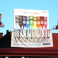 "Excellent idea of guerrilla marketing for the brand ""Rona"" in Montreal."