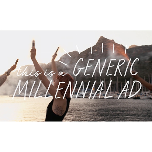 """Dissolve's """"This Is a Generic Millennial Ad, created with And/Or studio, shows how easy it is to appeal to anyone born between 1980 and 2000."""" Poking fun at overly used millennial cliches with stock footage. (So let's move on from this style already?)"""