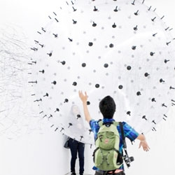 Karina Smigla-Bobinski's ADA – Analog Interactive Installation. A Helium-filled kinetic drawing sculpture.