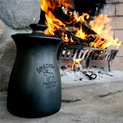 The Adirondack Firestone Company makes a Firestarter that comes in a stylish stoneware pot and looks a bit like a marshmallow.