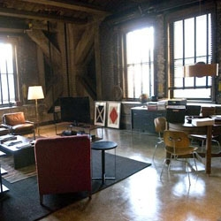A sneak peek at the set design of the loft owned by Matt Damon's character in the new movie The Adjustment Bureau.