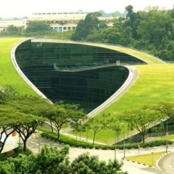 Awesome green roof art school at the  Nanyang Technological University in Singapore.