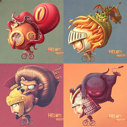 "Nutcase Helmets have a fantastic ad campaign by The Community. ""Helmets. Protecting us since ever."""