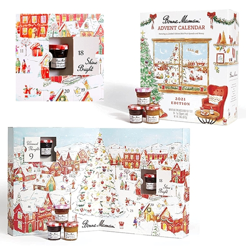 Bonne Maman 2021 Advent Calendar - 24 jams, including special holiday flavors, in the cutest tiny jars in a beautifully illustrated box. (I know it's way early to be thinking advent, but they often sell out fast.)