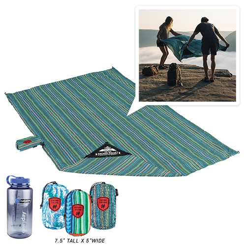 """Grand Trunk Adventure Sheet! Only 12oz and 7' x 4'10"""" of 2000 PU coated parachute nylon for wetness protection - with corner loops and pockets to keep it down. Perfect EDC for spontaneous beach lounging, picnics, and festivals!?!?!"""