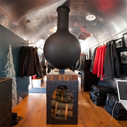 Come into the AETHERstream! Aether Apparel's mobile shop is in a gorgeous airstream! It's amazing what you can fit in there ~ products, reclaimed wood flooring, pelican cases for storage, fireplace, vintage tech and more!
