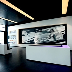 The Mercedes-AMG Private Lounge in Affalterbach is my black and white modern dream space filled with automotive and design inspiration set in what was once farm land... and the mural is made of TAPE! Amazing details.
