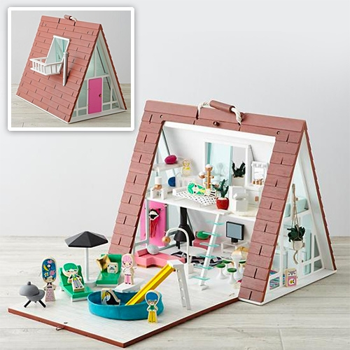 A-Frame Doll House from Land of Nod. You can also get the matching furniture, family, and decor kit (or all of it in the deluxe set!)