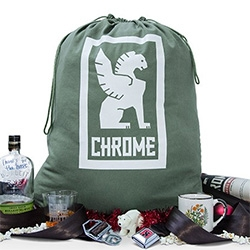 Chrome Industries has a fun holiday gift wrap option - Salvage Holiday Gift Bag, a re-purposed GI Laundry Bag with their Winged-Lion overprint