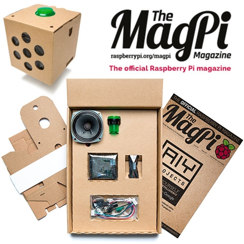 MagPi Magazine Issue 57 comes with a free AIY Projects Cardboard Voice Kit. Add natural voice interaction to projects with this exclusive Google kit.