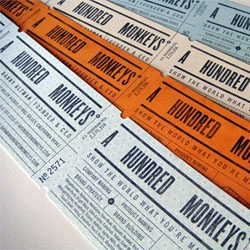 Business cards for A Hundred Monkeys, a naming and branding firm based in Mill Valley, California. Designed by Croxton Design.