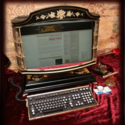 A''Victorian All in one PC''  From Steampunk check out how it was done.