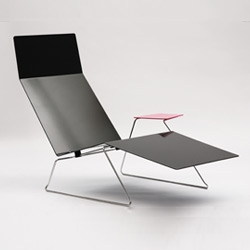 The Sun-Liner sunlounge by Adam Goodrum (of Cappellini 'Stitch' fame) for Tait. Powdercoated sheet metal.