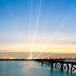 Nachtfluge is a photograph series by Kevin Cooley showing long exposure photos of airplane light trails.