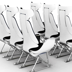 Designer Gerda Hopfgartner revolutionizes the air travel industry in a single swoop, redesigning the economy class plane seat to include personalized media screens and auto-or-programmable form-fitting seats for any sized person!