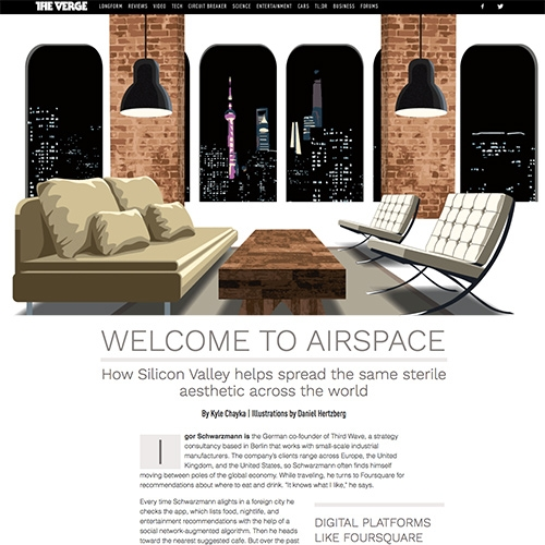 """""""WELCOME TO AIRSPACE: How Silicon Valley helps spread the same sterile aesthetic across the world"""" By Kyle Chayka. It will have you rethinking that cliche mid century modern, subway tile, reclaimed wood, Dwell magazine look that's gone global."""