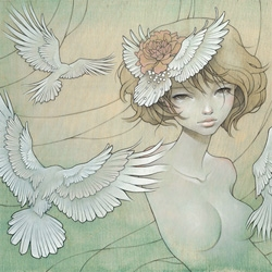 This new 2009 painting from one of our favorite artists, Audrey Kawasaki was printed exclusively for the Outre Gallery in Melbourne Australia. Only 200  prints were created and they have sold out.