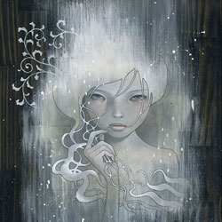 Audrey Kawasaki just finished 'She Who Dares' - oil and graphite and gesso on stained wood panel  - i'm super excited to see her work going darker. Yay. See the behind the scenes pics too!