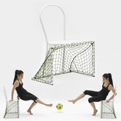 The Lazy Goal Chair (clearly needed in pairs or more) designed by Emanuele Magini