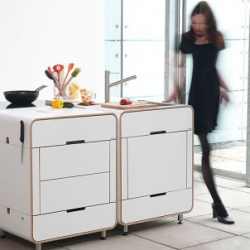 The A La Carte kitchen range by Stuttgart, Germany-based Stadtnomaden offers modular and space-saving functional kitchens that are small in size but big on style.