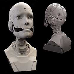 ALAN, the first affordable modular animatronic robot kit. Designed by Hollywood make-up effects artist Will Huff, ALAN is a 1:1 human scale robot head and shoulders measuring 16 inches tall, provides 5 axes of motion, and is made of off the shelf parts.