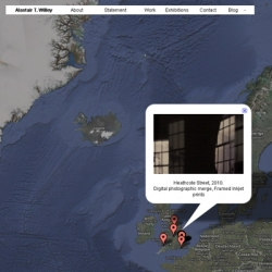 Unique website by artist Alastair T. Willey using google maps to document the virtual representation of his practise through the works original geographical location.