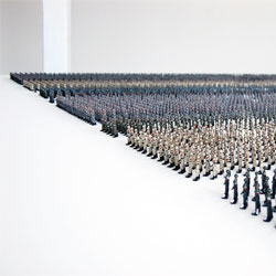 An impressive array of 'Tin Soldiers' by Ala Younis at Istanbul Art Biennale.