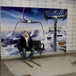 Really nice advertising campaign from Venture Communications, Toronto. In locations around Toronto, a new campaign from travel Alberta puts people in lift chairs riding up into the Rockie Mountains.