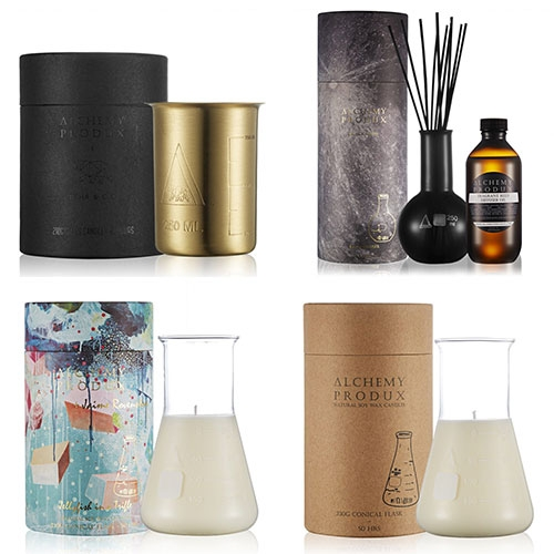 Alchemy Produx Candles and Diffusers packaged in scientific glassware (and other vessels inspired by them!)