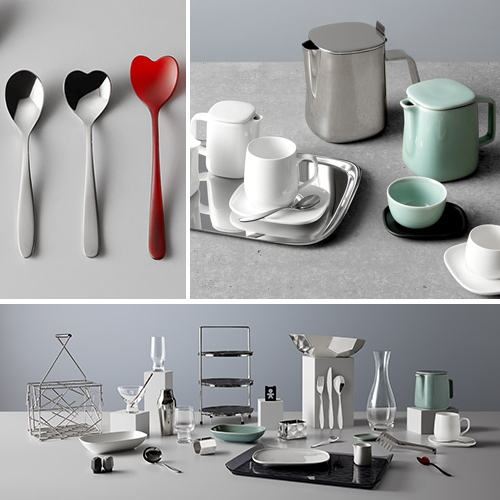 Delta x Alessi-designed serviceware featuring designs by Patricia Urquiola, the Bouroullec Brothers, Stefano Giovannoni, Miriam Mirri, Kristiina Lassus, and the Campana Brothers.