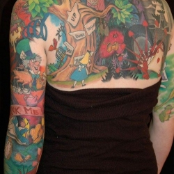 Huge Alice In Wonderland Back Tattoo