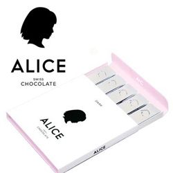 Alice Chocolate ~  swiss chocolate inspired by the great alice's of our time - Alice Pleasance Liddell of Wonderland, Alice B. Toklas (Gertrude Stein's life companion) and chef-extraordinaire Alice Waters