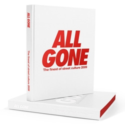 The 4th edition of All Gone series is out. The book sums up the finest of streetculture 2009 with a selection of 200 products, 90 brands and 16 artists. Focus on the printing process and several pages of the book !