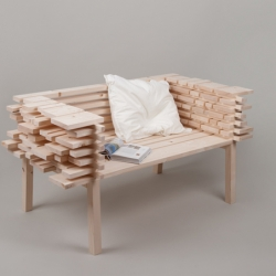 Lowstack bench from Allt, ideas adapted to living spaces from sawmills, where structures are used to stack unfinished wood planks.