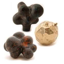 Organic sculptures by Alma Allen using marble, ironwood, walnut, copper ore and bronze.