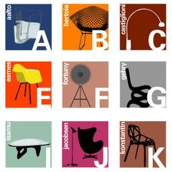 Another alphabet for our growing collection. This time, design icons, from A is for AALTO to Z is for ZEISEL. By Blue Ant Studio