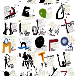 The Reader's Alphabet. Each letter depicts a famous literary character. And a little text summarizes the book's story. Designed by Hemant Anant Jain.