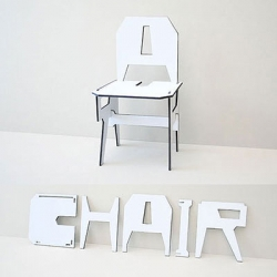 Assemble your own chair by using the alphabets: C, H, A, I, R.  Designed by Eric Ku, the Alphabet Chair is part of the 'Mission Redefinition' project.