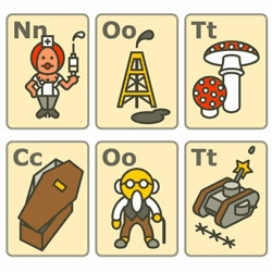 The very cute, but Politically Incorrect Alphabet, from A is for Atom Bomb to Z is for Zombie.