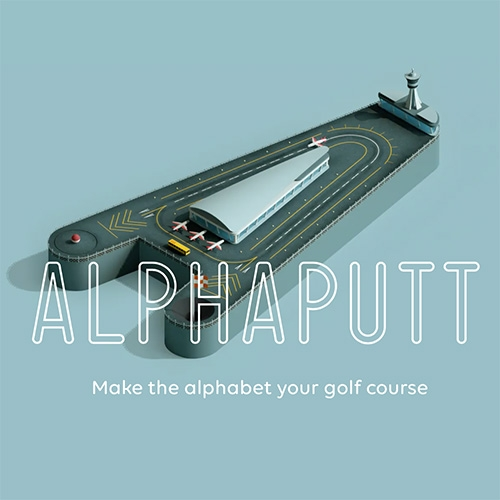 Alphaputt - typography meets golf on iOS! You can pick a word to make your course, or be surprised. Game by Sennep Games.
