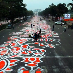 The World's Largest Alpona in Bangladesh was created by 5 artists and over 200 painters for the Bangla New Year.