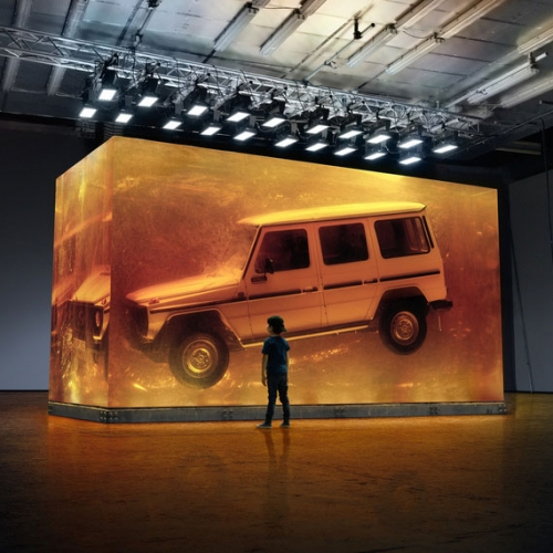 Mercedes-Benz has encased a first production year (1979) G-Wagen in the world's biggest installation of synthetic resin to look like amber! 44.4 tonnes cast in 90 days!