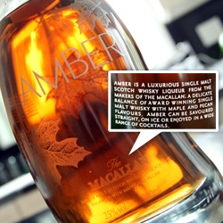 Amber Liqueur ~ It's like the best maple syrup + pecan + Macallan ~ not for those who aren't a fan of the sickly sweet. Beautiful glass bean like bottle with wood/cork top! No longer in production...