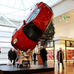 "As part of the sales promotion campaign, these ambient stunts in Belgium. The aim is to show just how easy it is to buy an Alfa Romeo MiTo. The headline reads ""Your chance to own an Alfa Romeo""."