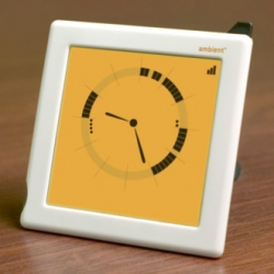 The Ambient Devices people have a new digital beta Ambient Clock which runs off of google calendars ~ new way to tell time - reminds me of an old cogsci hci project...